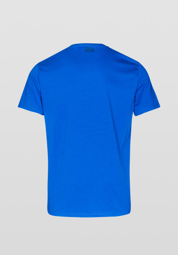 Antony Morato Regular Fit Glossy Print Stretch Cotton T-shirt Am 834 Royal Blue