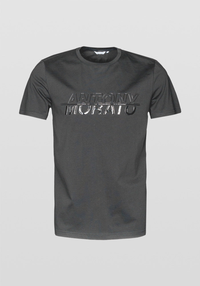 Antony Morato Regular Fit Glossy Print Stretch Cotton T-shirt Am 834 BLACK