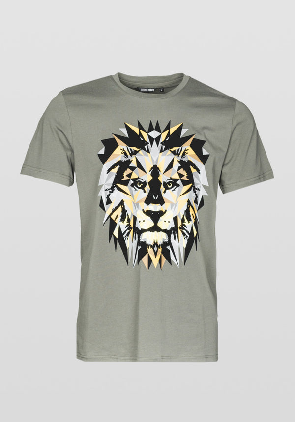 Antony Morato Regular Fit Lion Print T-shirt Am 887 Khaki