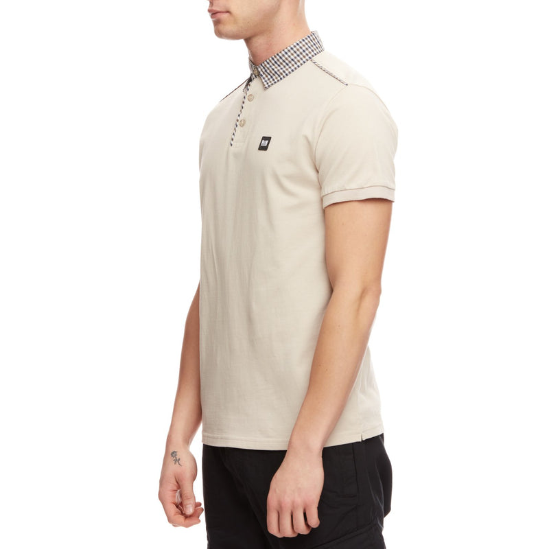Weekend Offender Diani Nylon check piping on shoulders & placket in Sand