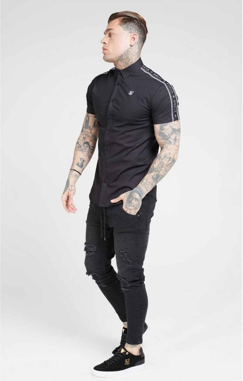 Siksilk SikSilk Short Sleeved Piped Tape Shirt – Black Ss15876 BLACK