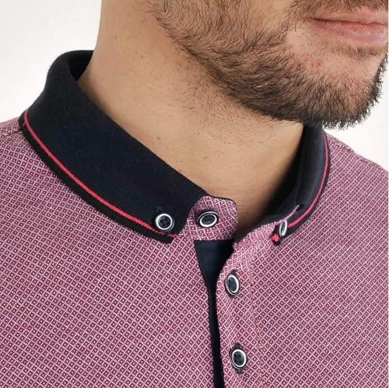 Bewley Ritch Sollar  Patterned Cotton Polo Shirt Pink / Navy