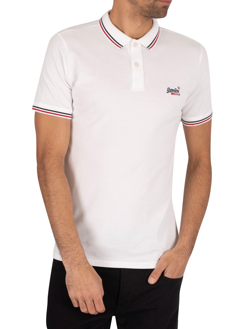 Superdry Organic Cotton Micro Lite Pique Polo Shirt - Optic white