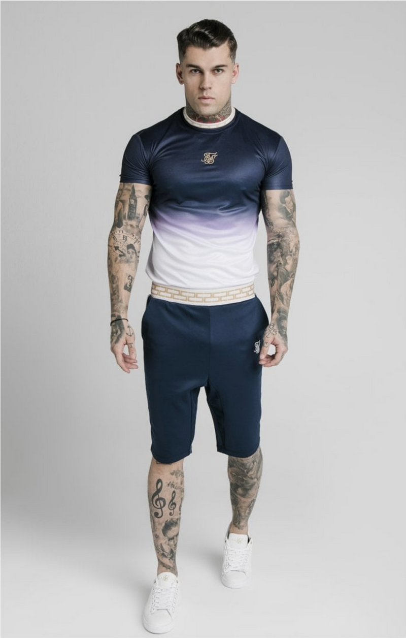 SikSilk S/S Fade Inset Tape Gym Tee - Navy & White