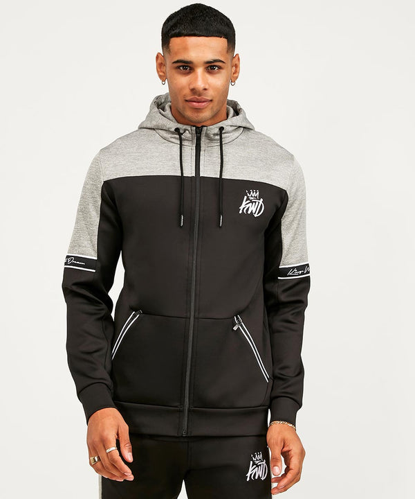 Kings Will Dream Tesi Poly Full Zip Sweat Hoody in Black and Dark Grey