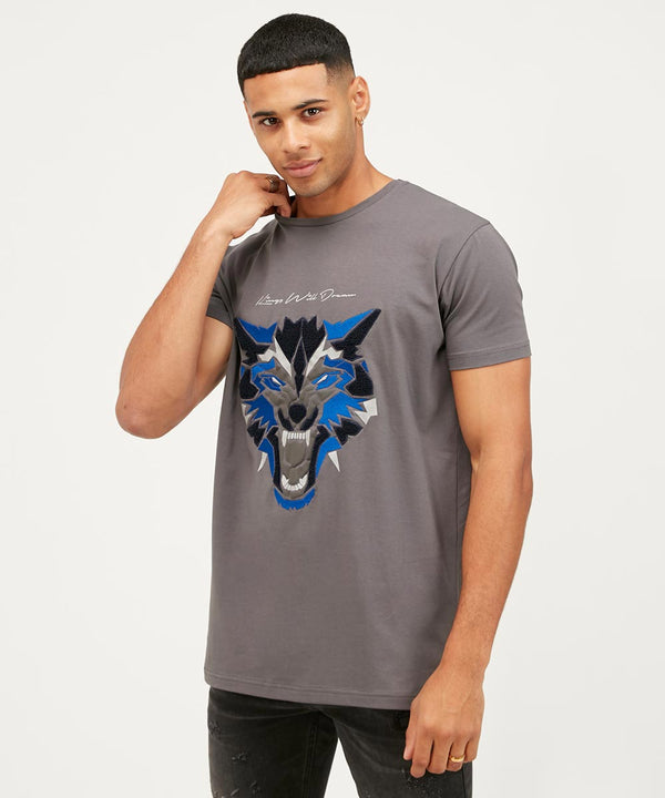 Kings Will Dream Wolf Logo Print Designer T-Shirt in Grey and Cobalt Blue