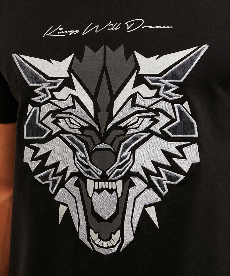 Kings Will Dream Wolf Logo Print Designer T-Shirt in Black with Silver