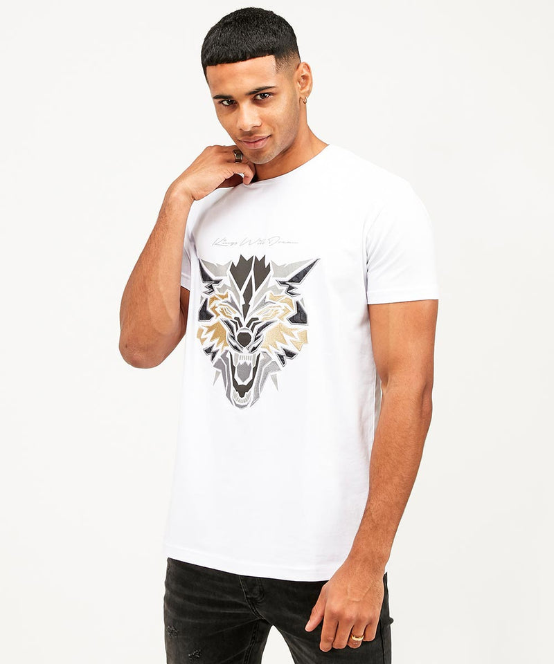 Kings Will Dream Wolf Logo Print Designer T-Shirt in White
