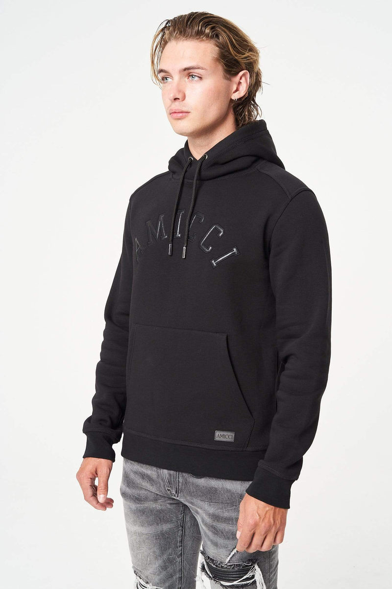Amicci Collegiate Mens Heavy Winter Hoody Modena BLACK