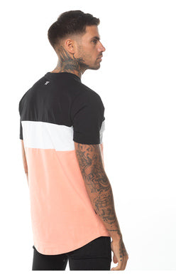 11 Degrees Triple Panel T-Shirt - Peach Melba/Black/White