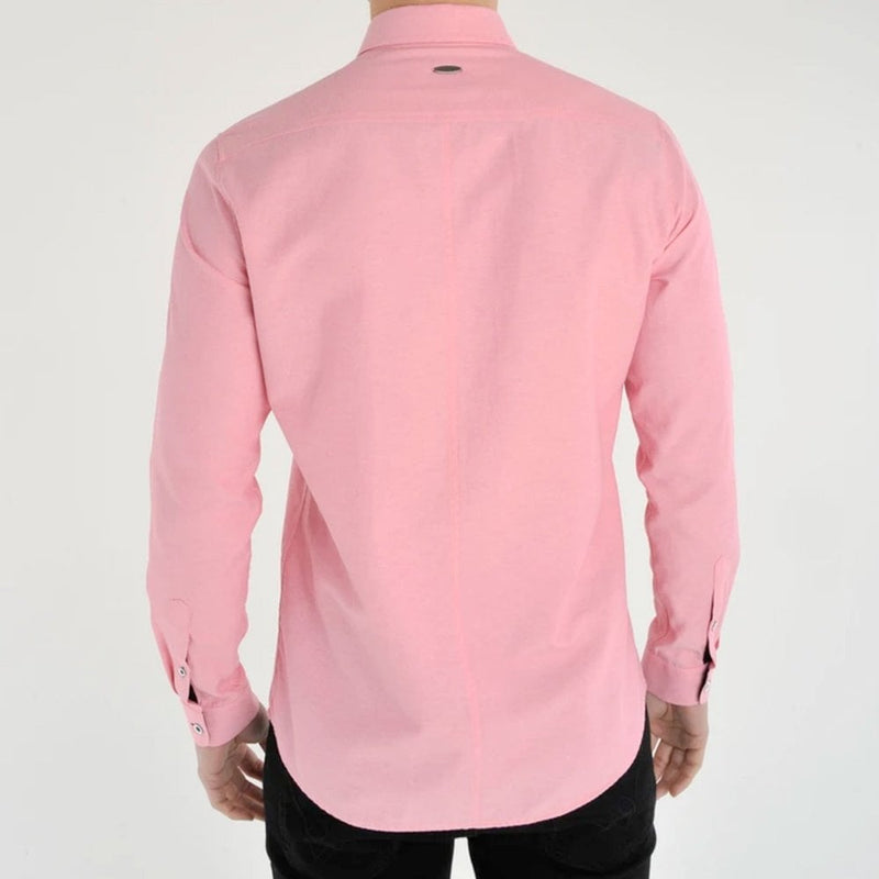Bewley and Ritch Aland Long Sleeve Oxford Shirt in Rose Pink