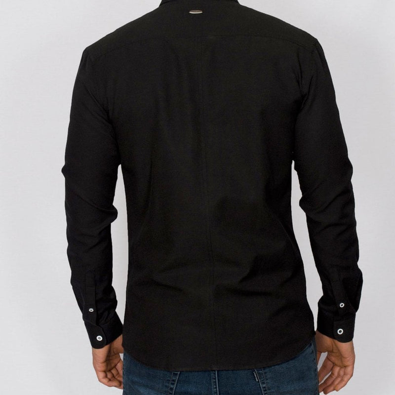 Bewley and Ritch Aland Long Sleeve Oxford Shirt in Black