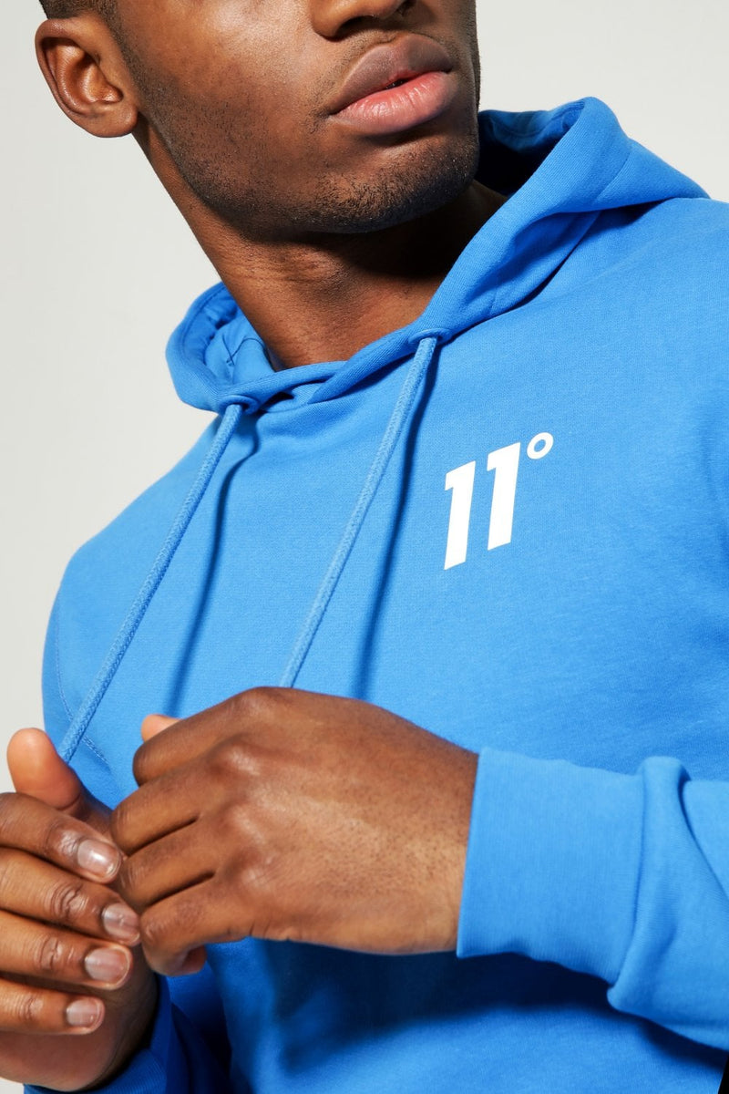 11 Eleven Degrees 11D Core Mens Hoodie Cotton Poly SkyDiver Blue
