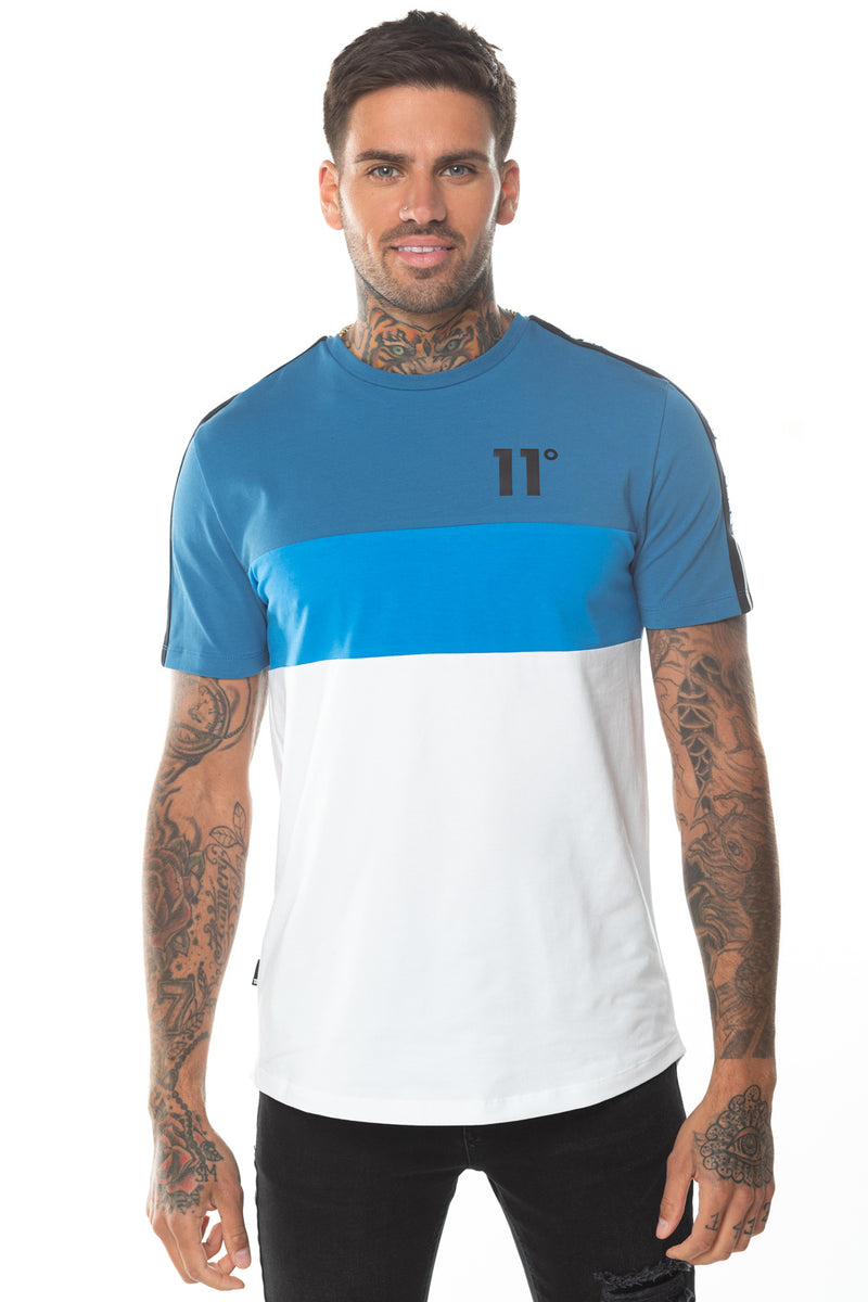 11 Degrees Triple Panel Taped T-Shirt - White/Deep Water Blue/Bright Blue