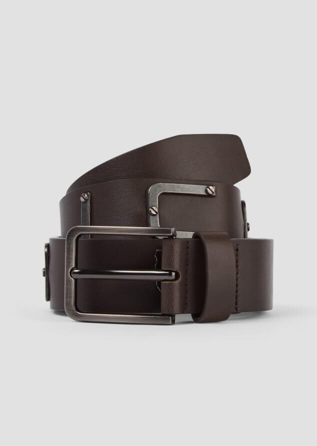 883 Police Jambo Leather Belt with Metal Branding in Brown
