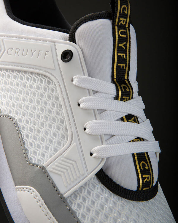 Cruyff Maxi is a rich multi-material sneaker with a sporty appearance in White