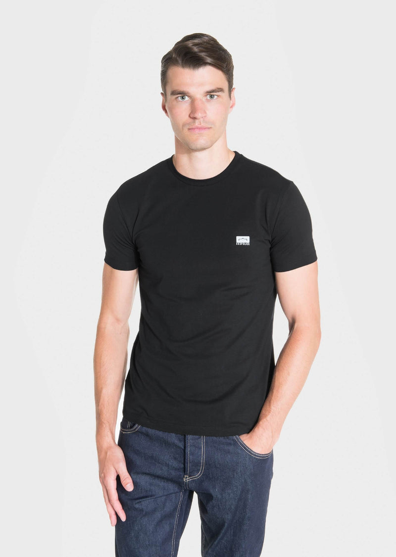 883 Police Mode Cotton Jersey Short Sleeved T-Shirt in Black