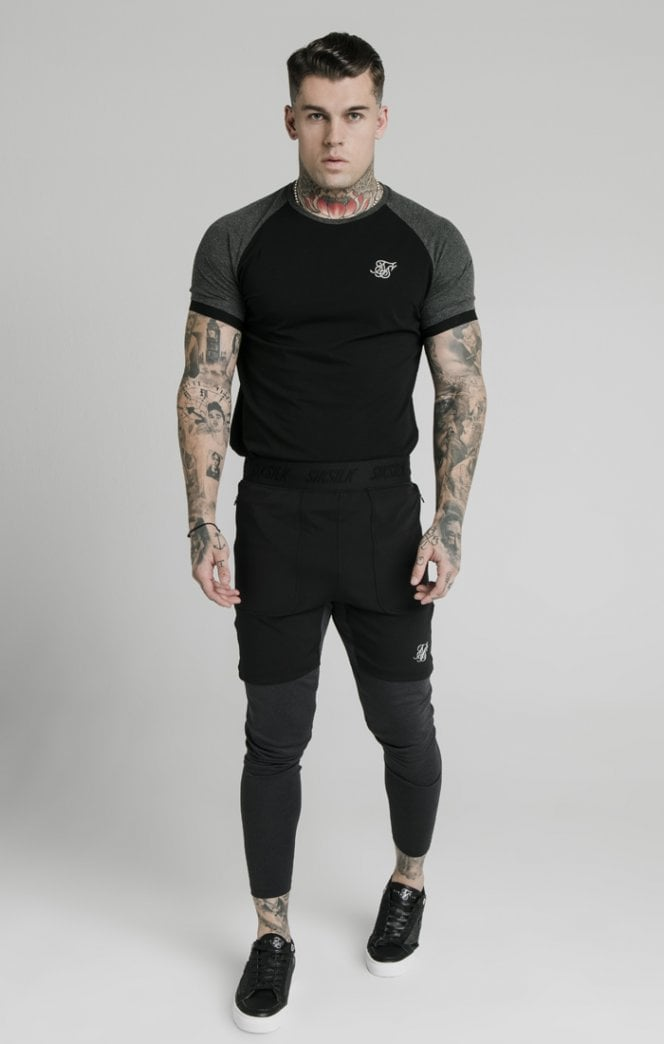SikSilk Short Sleeve Advanced Tech Tee T/S Shirt - Black Ss-16635