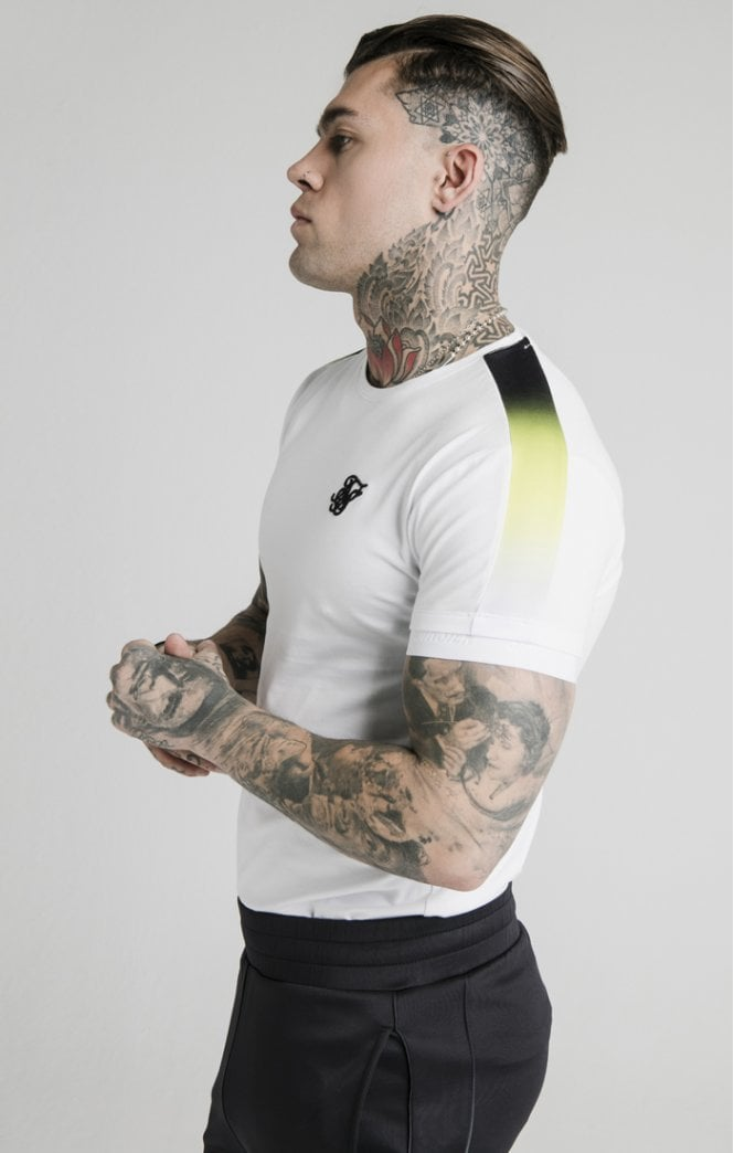 SikSilk S/S Fade Panel Tech Tee - White Ss-16673
