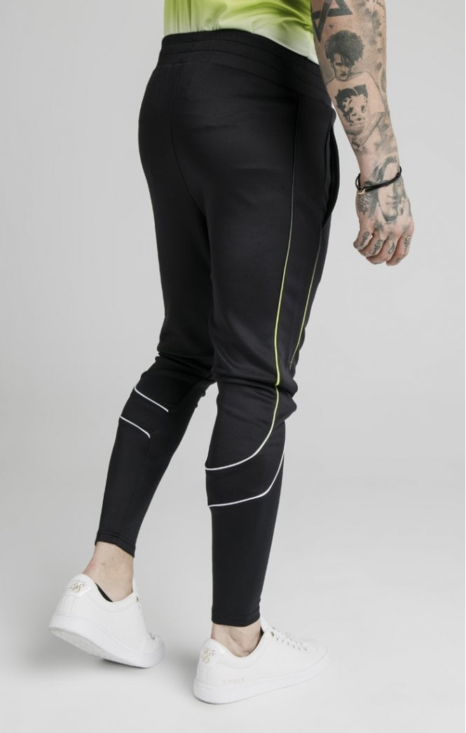 SikSilk Tri Fade Tape Track Pants - Black, Fluro & White Ss-16443