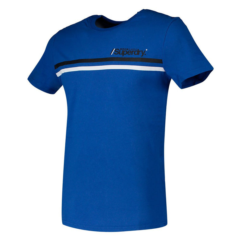 Superdry Core Logo Sport Stripe T-Shirt - Optic Blue
