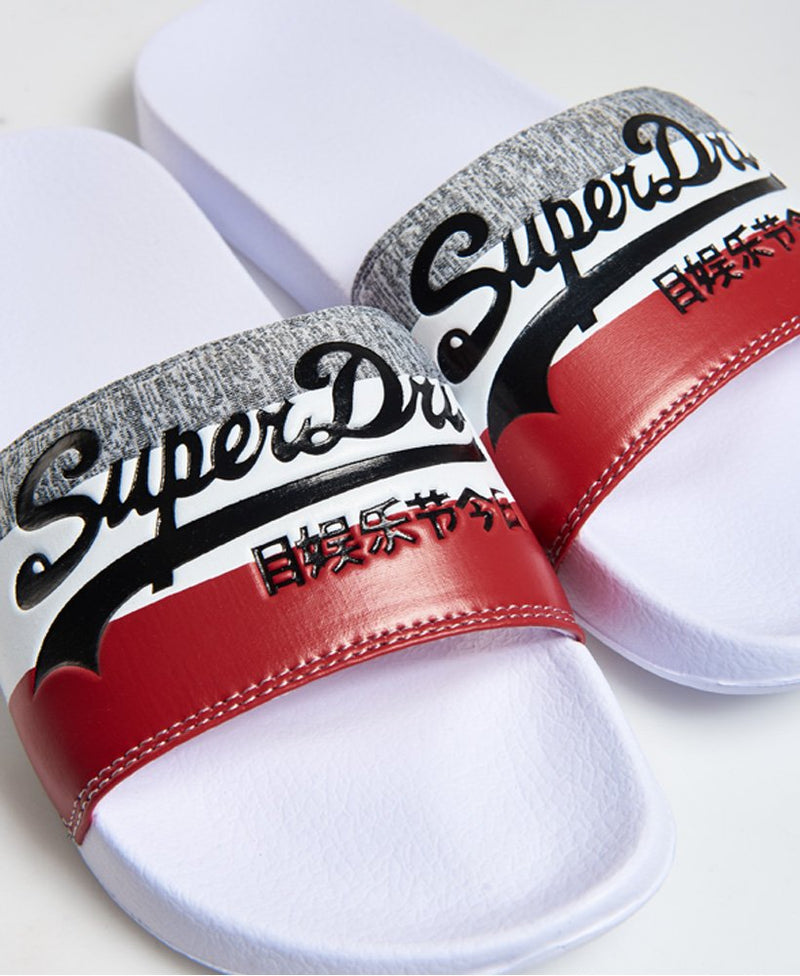 Superdry Mf3109st Vintage Logo Pool Sliders in White