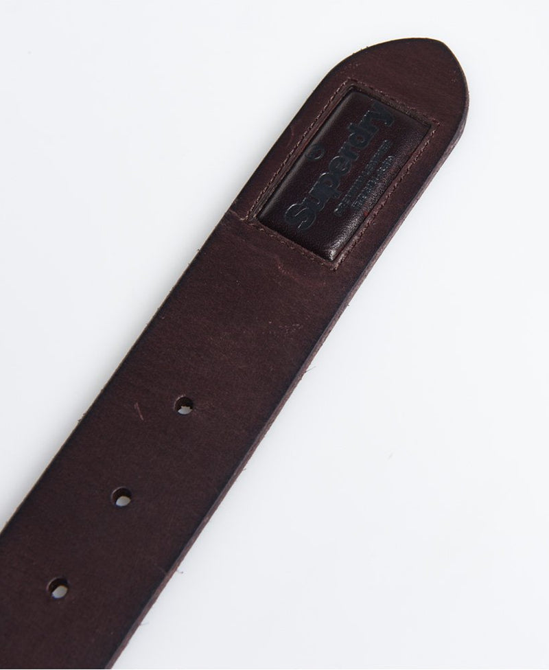 Superdry Badgeman Mens Dark Brown Leather Belt Sizes S-XL