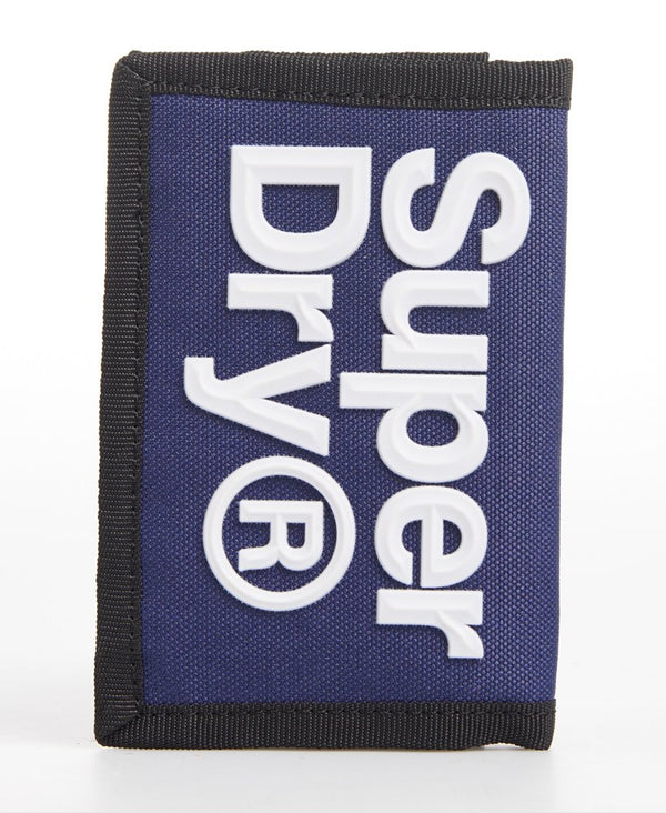 Superdry Mens Velcro Logo six card slots coin pocket logo Wallet in Downhill Blue