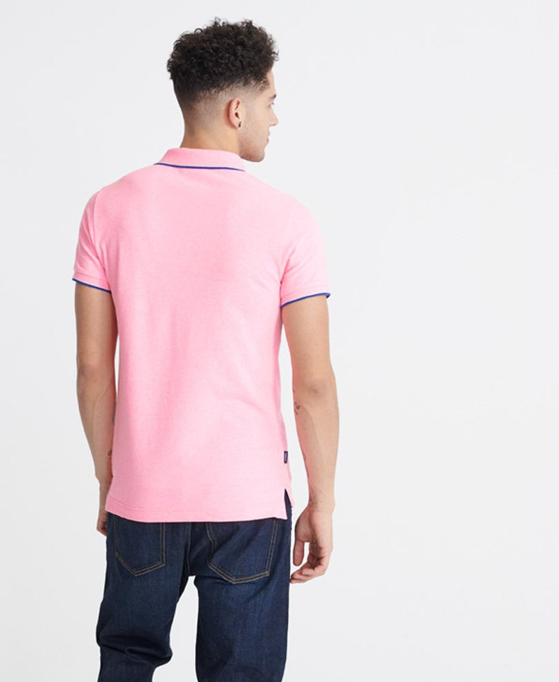 Superdry men's Poolside pique casual polo shirt in Blast Pink