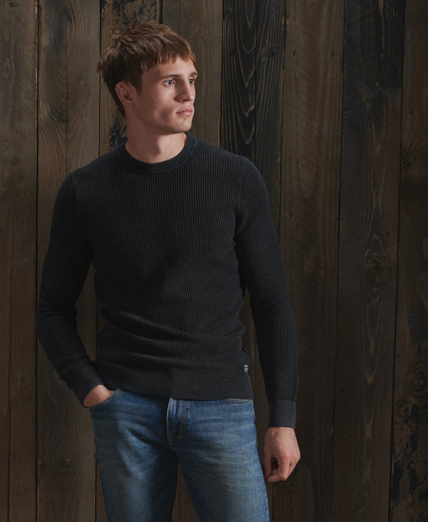 Superdry Academy Dyed Texture crew neck sweatshirt in Washed Black