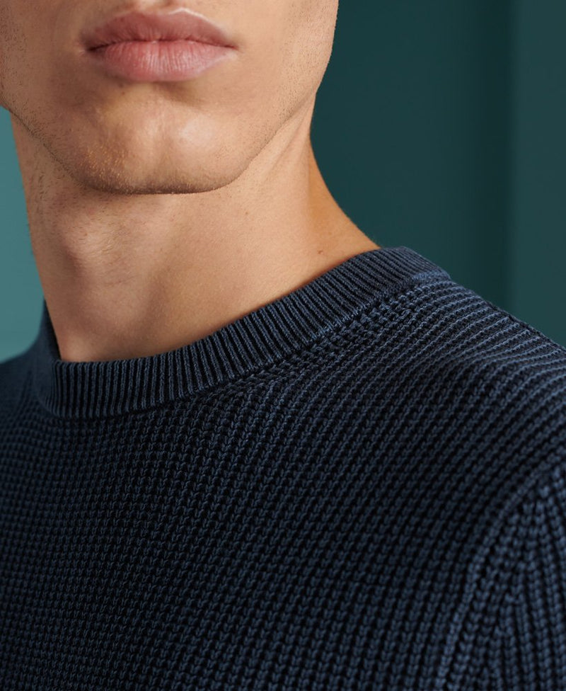 Superdry Academy Dyed Texture crew neck sweatshirt in Storm Navy Blue