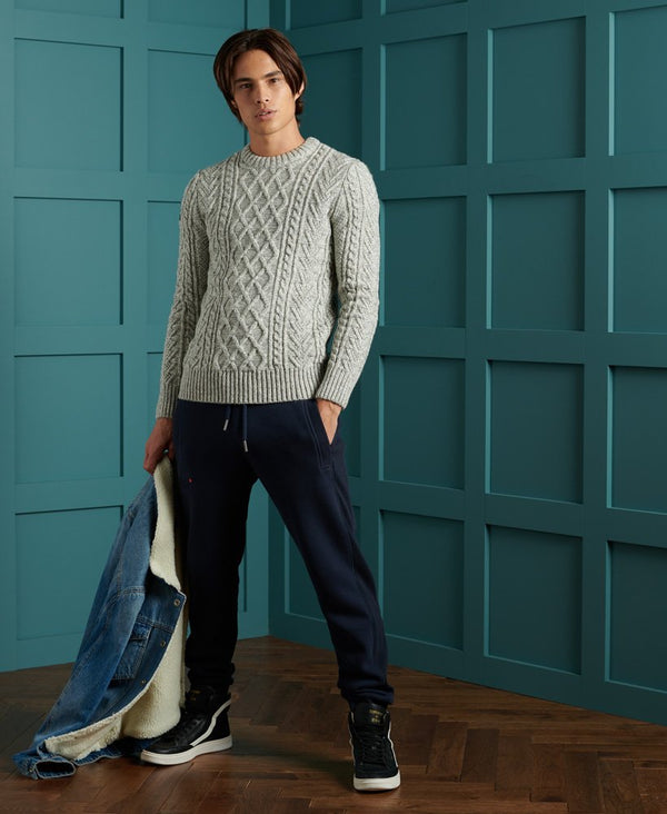 Superdry ribbed crew neckline, cuffs and hem jumper Jacob 20 CONCRETE