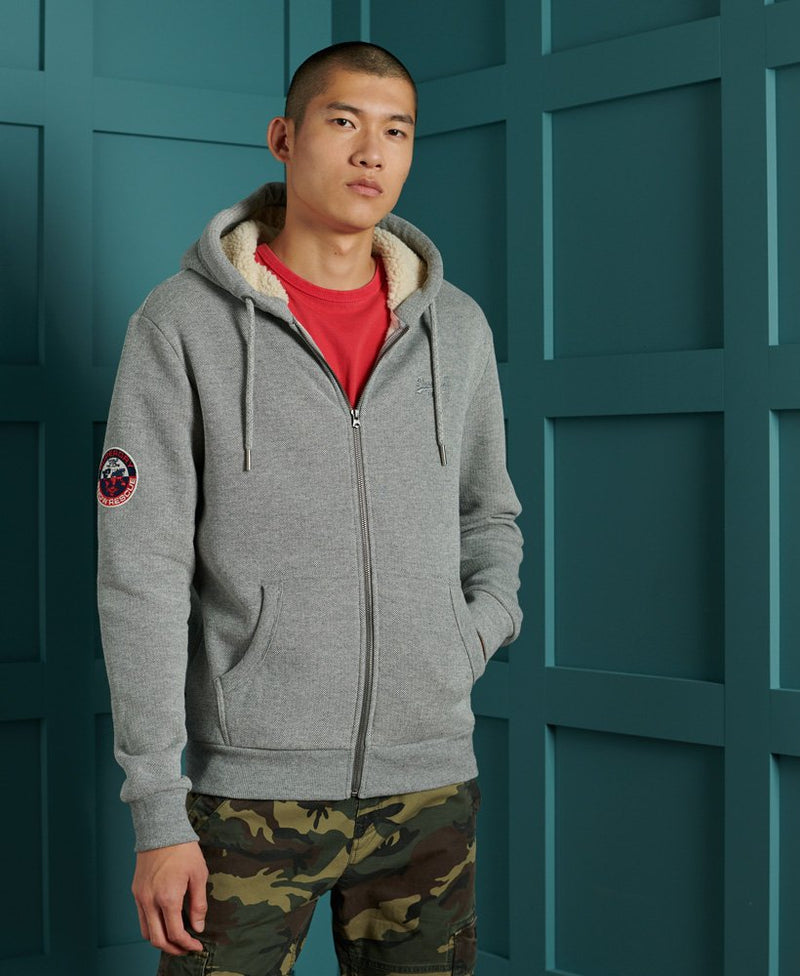 Superdry Borg Lined Winter Full Zip Hoody Jacket in GREY MARL