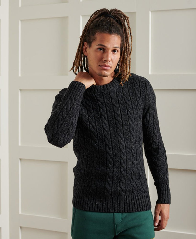Superdry ribbed crew neckline, cuffs and hem jumper Jacob 20 BLACK