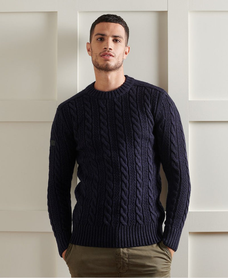 Superdry ribbed crew neckline, cuffs and hem jumper Jacob 20 NAVY