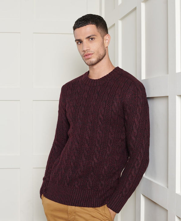 Superdry ribbed crew neckline, cuffs and hem jumper Jacob 20 BURGUNDY