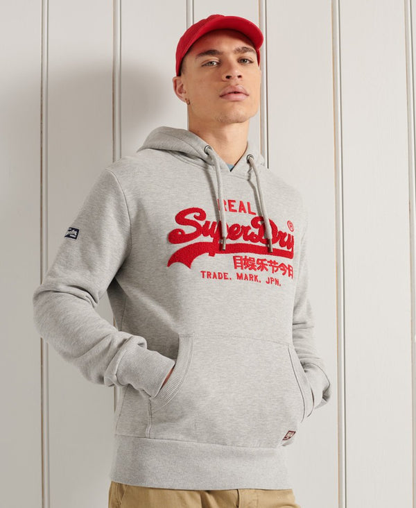 Superdry Vintage Logo chenille Slim fit mens hoodie in Grey Marl