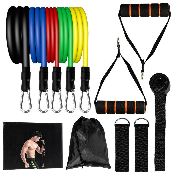 GetBuffed™ Full-Body Resistance Bands Set Yoga Pilates Abs Excercise Workout Kit 11 Pcs