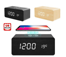 Load image into Gallery viewer, ClockCharge™ Modern Wooden Digital LED Elegant Desk Alarm Clock Thermometer Qi Wireless Charger
