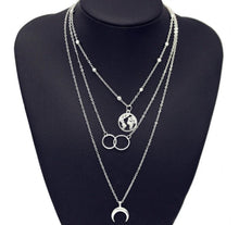 Load image into Gallery viewer, Wanderer™ Multi-Layered Adventure Seeker Necklace Moon Map Circle Vintage Pendant Chokers