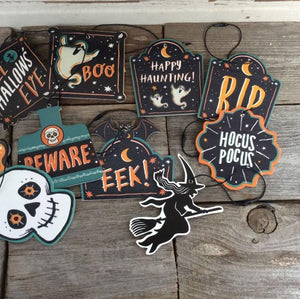 HallOrnaments™ Halloween Wood Icon Die Cut Ornaments Set of 13 Halloween Decor
