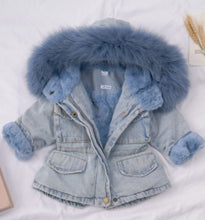 Load image into Gallery viewer, FurryHood™ Denim Fur Hooded Winter Coat Jacket Warm Thick Children Winter Hoodie