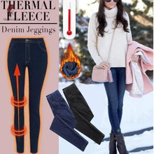 Load image into Gallery viewer, ComfyJeggings™ Thermal Fleece Lined Denim Print Jeggings Seamless Warm Comfortable Winter Leggings