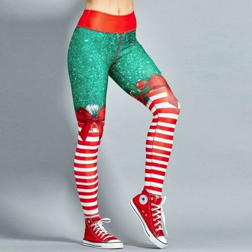 CandyStripes™ Christmas Holiday 3D Print Leggings High Waist Fitness Workout Pants