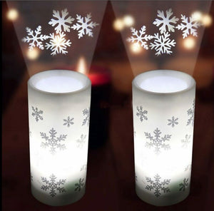 FestiveLamps™ Christmas Projection Lamp Snowflake Snowman Lamp Candle Projector Night Light