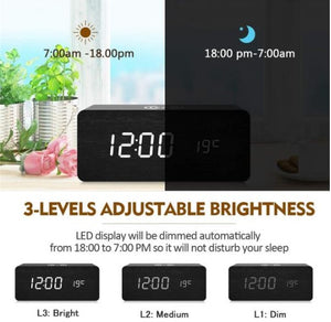 ClockCharge™ Modern Wooden Digital LED Elegant Desk Alarm Clock Thermometer Qi Wireless Charger