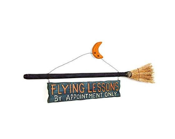WitchBroom™ Flying Lessons Witch & Broom Stick Sign Halloween Decor