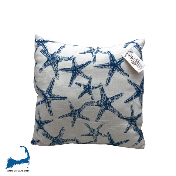 Dark Blue Starfish Pillow