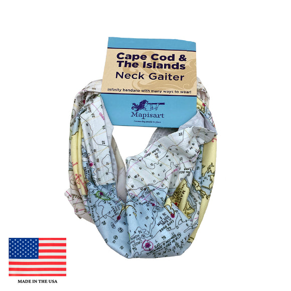 Cape Cod Nautical Map Neck Gaiter