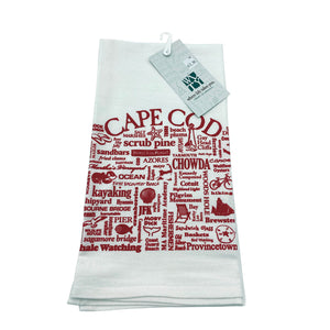 Cape Cod Red Words Tea Towel